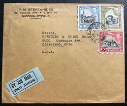 1946 Nicosia Cyprus Commercial Airmail Cover To Cleveland Oh Usa