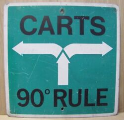 Country Club Golf Course Vintage Sign Carts 90degree Rule Keep Carts In Rough