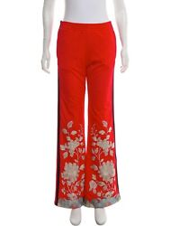 GUCCI Silver Embroidered Mid-Rise  Track Pants Size: S $575.00