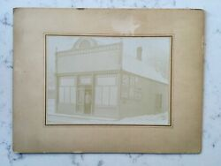 Antique Matted Photograph General Store Shop With Soap Cocoa Advertising Signs
