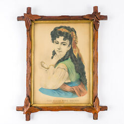 C 1870 Currier And Ives Black Eyed Beauty Lithograph Hand Colored Adirondack Frame