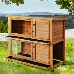 48quot; Wood Wooden Rabbit Hutch Small Animal House Pet Cage Chicken Coop Waterproof