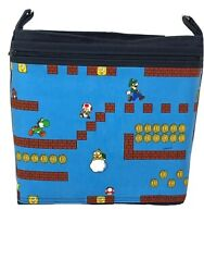 Blue Crossbody Over the Shoulder Canvas Purse Bag Mario Brothers Handmade in USA $45.00