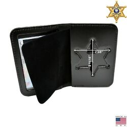 Perfect Fit Sheriff 6 Pt Star Badge Case Leather Id Holder Illinois Ny County