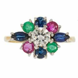 Vintage Sapphire Emerald Ruby And Diamond Cluster Ring