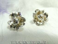 Coming Up Blossoms Vintage Sterling Silver 925 Estate Flower Screw Back Earrings