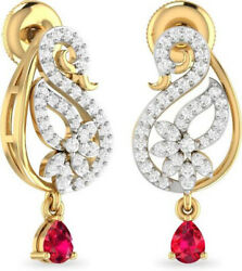 1.27ct Natural Round Diamond 14k Solid Yellow Gold Ruby Stud Screw Back Earring