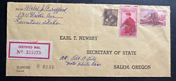 1955 Lewiston Id Usa Certified Mail Cover To Secretary Of State Salem Oregon