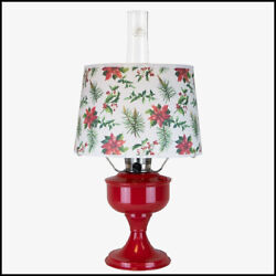 Aladdin Lamp Orient Red Aluminum Table Lamp With Holly Jolly Christmas Shade New
