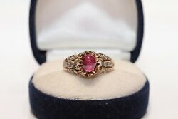 Antique Ottoman Natural Diamond And Ruby Decorated 14k Gold Amazing Ring