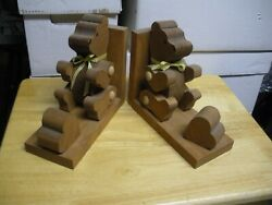 Teddy Bear Wooden Bookends With Yellow Ribbons . 8 X 3 1/2 Adorable