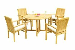 5pc Grade-a Teak Dining Set 48 Round Butterfly Table 4 Wave Stacking Arm Chairs