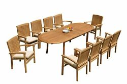 11pc Grade-a Teak Dining Set 94 Oval Table 10 Wave Stacking Arm Chairs Outdoor