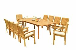 11pc Grade-a Teak Dining Set 94 Rectangle Table 10 Wave Stacking Arm Chairs