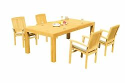 5pc Grade-a Teak Dining Set 86 Canberra Rectangle Table Wave Stacking Arm Chairs