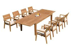 9pc Grade-a Teak Dining Set Caranas Rectangle Table Vellore Stacking Arm Chairs