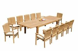 13pc Grade-a Teak Dining Set Caranas Rectangle Table Wave Stacking Arm Chairs