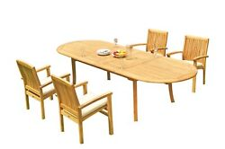 5pc Grade-a Teak Dining Set 118 Oval Table 4 Wave Stacking Arm Chairs Outdoor
