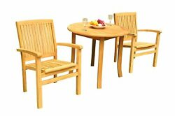 3pc Grade-a Teak Dining Set 36 Round Table 2 Wave Stacking Arm Chairs Outdoor