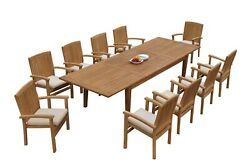 11pc Grade-a Teak Dining Set 122 Atnas Rectangle Table Wave Stacking Arm Chairs