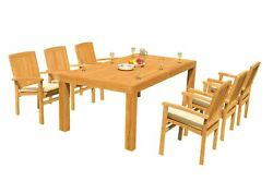7pc Grade-a Teak Dining Set 86 Canberra Rectangle Table Wave Stacking Arm Chairs