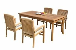 5pc Grade-a Teak Dining Set 60 Rectangle Table 4 Wave Stacking Arm Chairs Patio