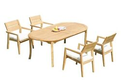 5pc Grade-a Teak Dining Set 118 Oval Table 4 Vellore Stacking Arm Chairs Patio