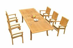 7pc Grade-a Teak Dining Set 118 Rectangle Table 6 Wave Stacking Arm Chairs