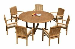 8pc Grade-a Teak Dining Set 72 Round Table 7 Wave Stacking Arm Chairs Outdoor