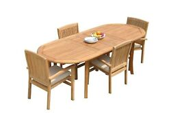 5pc Grade-a Teak Dining Set 94 Oval Table 4 Wave Stacking Arm Chairs Outdoor