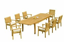 9pc Grade-a Teak Dining Set 122 Atnas Rectangle Table Leveb Stacking Arm Chairs