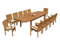 13pc Grade-a Teak Dining Set 122 Atnas Rectangle Table Wave Stacking Arm Chairs