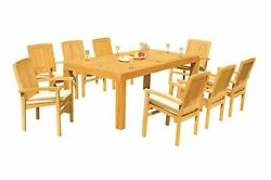 9pc Grade-a Teak Dining Set 86 Canberra Rectangle Table Wave Stacking Arm Chairs