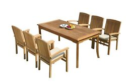 7pc Grade-a Teak Dining Set 60 Rectangle Table 6 Wave Stacking Arm Chairs Patio
