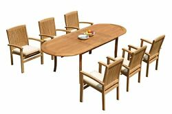 7pc Grade-a Teak Dining Set 94 Oval Table 6 Wave Stacking Arm Chairs Outdoor