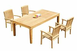 5pc Grade-a Teak Dining Set 122 Caranas Rectangle Table Wave Stacking Arm Chairs