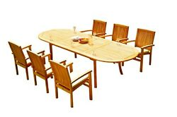 7pc Grade-a Teak Dining Set 118 Oval Table 6 Wave Stacking Arm Chairs Outdoor