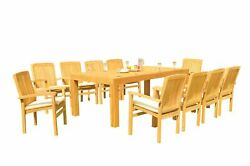 11pc Grade-a Teak Dining Set Canberra Rectangle Table Wave Stacking Arm Chairs
