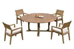 5pc Grade-a Teak Dining Set 72 Round Table 4 Vellore Stacking Arm Chairs Patio