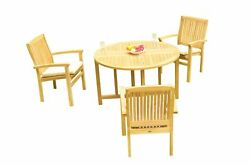 4pc Grade-a Teak Dining Set 48 Round Butterfly Table 3 Wave Stacking Arm Chairs