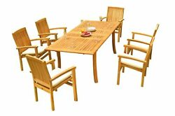 7pc Grade-a Teak Dining Set 94 Rectangle Table 6 Wave Stacking Arm Chairs Patio