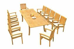 13pc Grade-a Teak Dining Set 118 Rectangle Table 12 Wave Stacking Arm Chairs