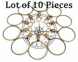10 Pieces Lot Brass Locket Magnifying Glass Necklace Nautical Pocket Magnifier