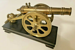 Vintage Metal Cannon Display With Wooden Base Wheels Move - Excellent Details