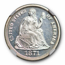 1871 10c Seated Liberty Dime Ngc Pf 64 Cameo Cac Approved Looks Deep