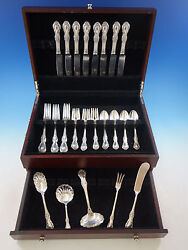 Wild Rose By International Sterling Silver Flatware Set For 8 Service 37 Pieces