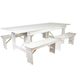 Hercules Series 8' X 40 Antique Rustic White Folding Farm Table And Four 40....