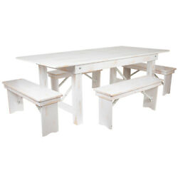 Hercules Series 7' X 40 Antique Rustic White Folding Farm Table And Four Ben...
