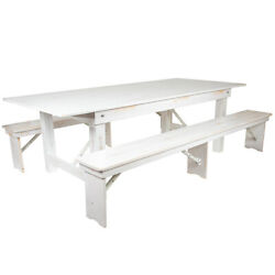 Hercules Series 8and039 X 40 Antique Rustic White Folding Farm Table And Two Benc...