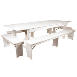 Hercules Series 9' X 40 Antique Rustic White Folding Farm Table And Four Ben...